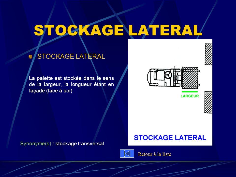 STOCKAGE LATERAL La palette est stockée dans le sens de la largeur, la longueur étant en façade (face à soi) Synonyme(s) : stockage transversal Retour