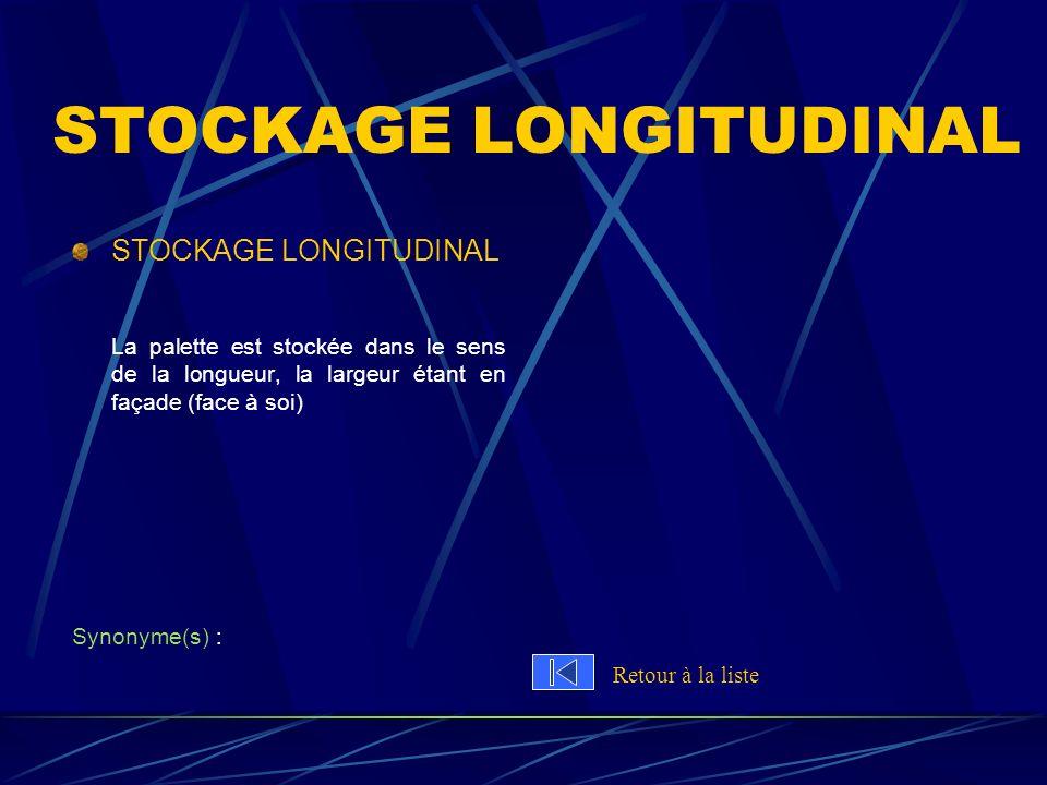 STOCKAGE LONGITUDINAL La palette est stockée dans le sens de la longueur, la largeur étant en façade (face à soi) Synonyme(s) : Retour à la liste