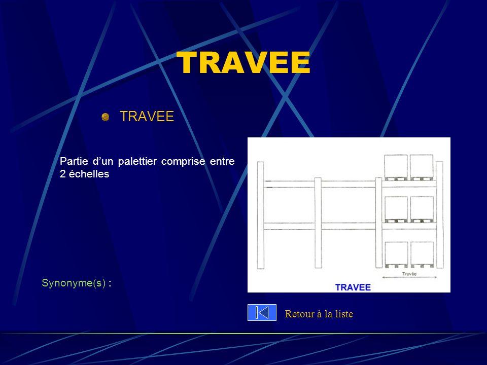 TRAVEE Partie dun palettier comprise entre 2 échelles Synonyme(s) : Retour à la liste