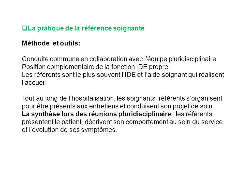 La pratique de la référence soignante Méthode et outils: Conduite commune en collaboration avec léquipe pluridisciplinaire Position complémentaire de la fonction IDE propre.