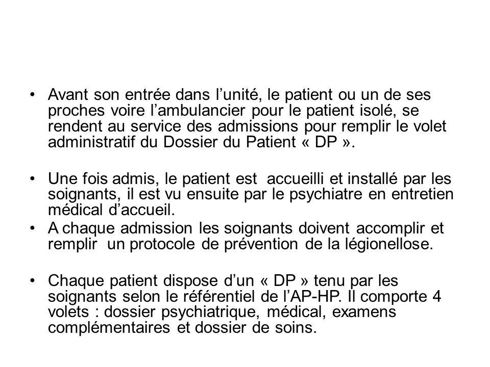 Avant son entrée dans lunité, le patient ou un de ses proches voire lambulancier pour le patient isolé, se rendent au service des admissions pour remplir le volet administratif du Dossier du Patient « DP ».