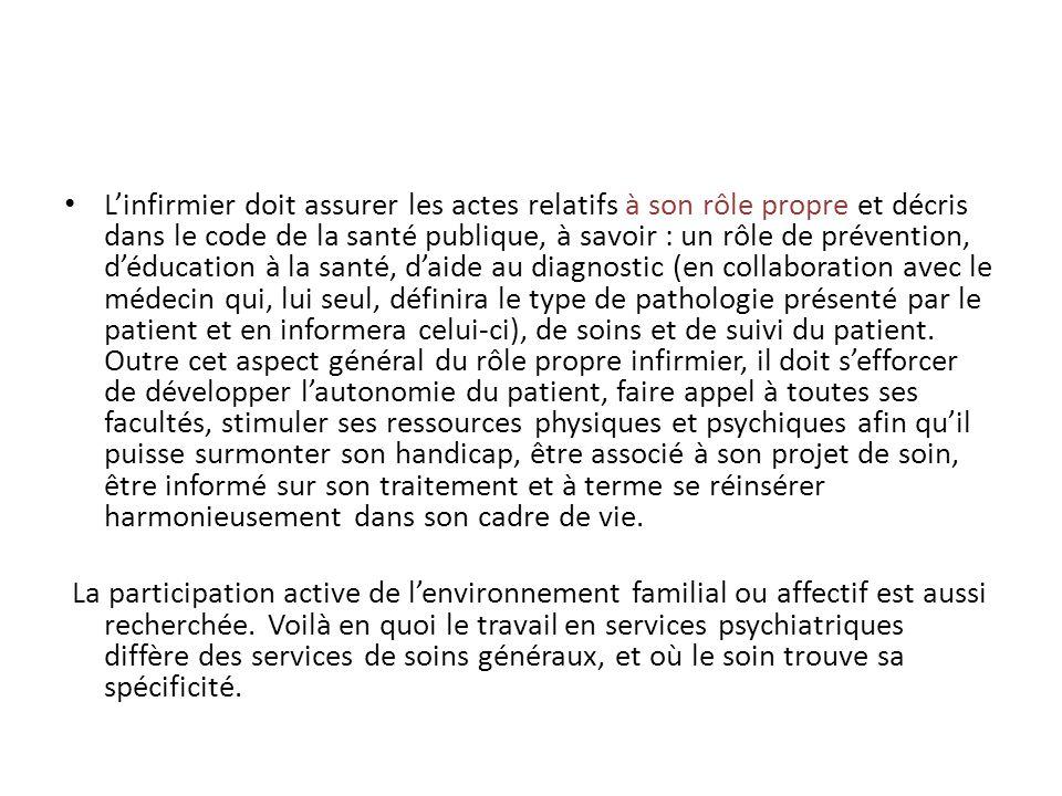 Linfirmier doit assurer les actes relatifs à son rôle propre et décris dans le code de la santé publique, à savoir : un rôle de prévention, déducation