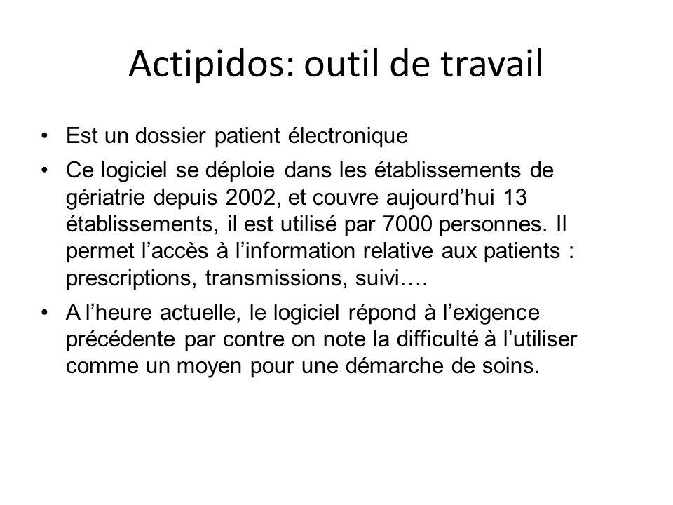 Actipidos: outil de travail Est un dossier patient électronique Ce logiciel se déploie dans les établissements de gériatrie depuis 2002, et couvre aujourdhui 13 établissements, il est utilisé par 7000 personnes.