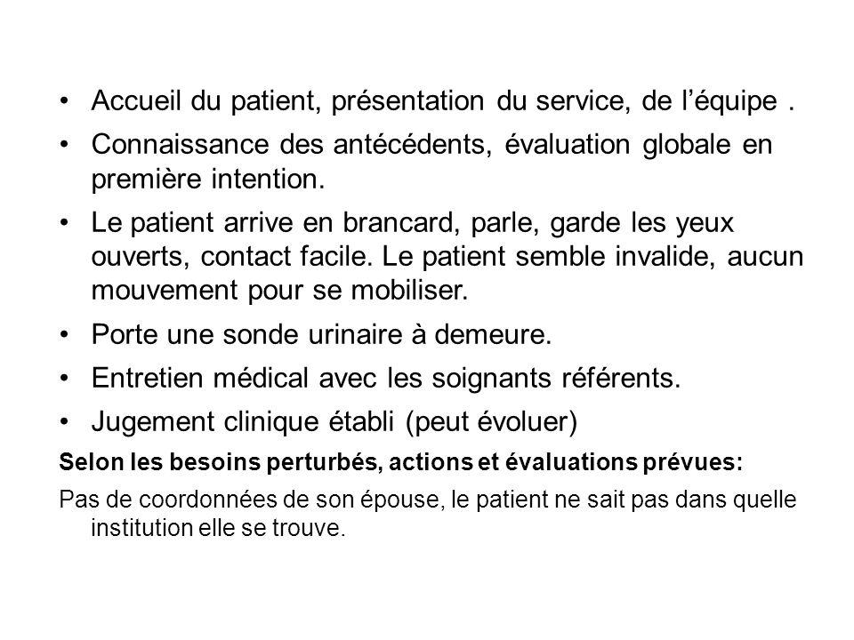 Accueil du patient, présentation du service, de léquipe. Connaissance des antécédents, évaluation globale en première intention. Le patient arrive en