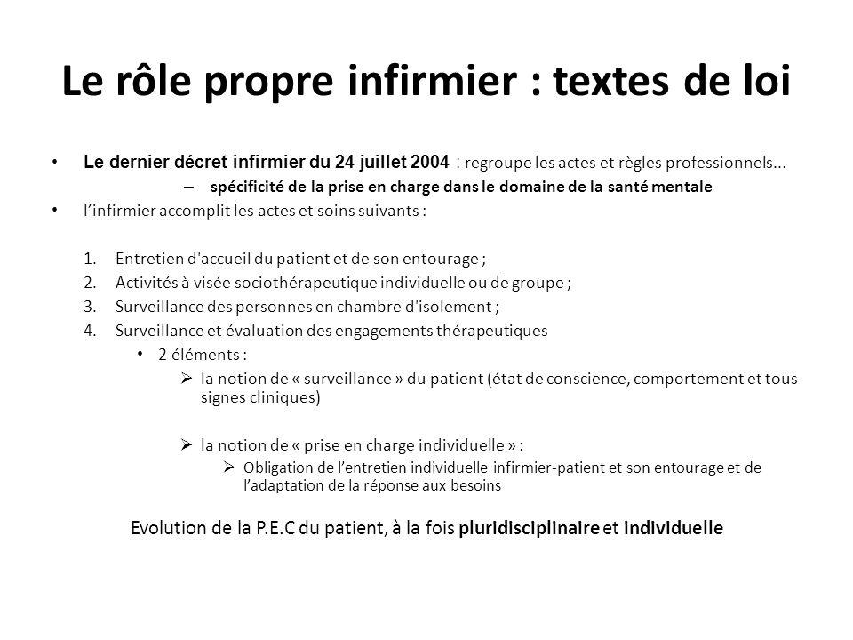 Le rôle propre infirmier : textes de loi Le dernier décret infirmier du 24 juillet 2004 : regroupe les actes et règles professionnels... – spécificité