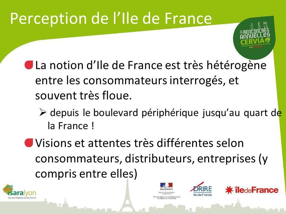 La notion dIle de France est très hétérogène entre les consommateurs interrogés, et souvent très floue. depuis le boulevard périphérique jusquau quart