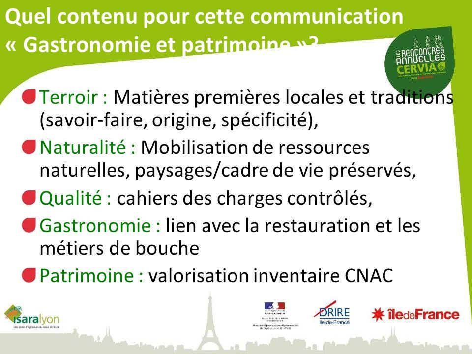 Quel contenu pour cette communication « Gastronomie et patrimoine ».