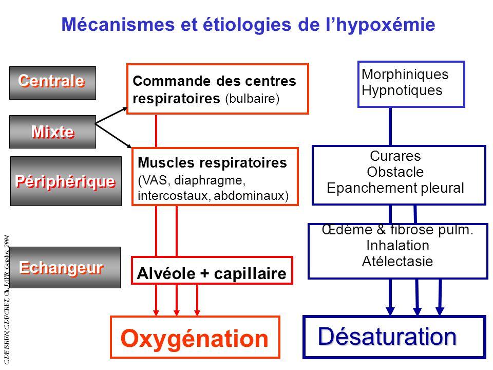 C.DE BRUN,C.DUCRET, Ch.JAYR Octobre 2004 5 Mécanismes et étiologies de lhypoxémie Centrale Périphérique Mixte Echangeur Œdème & fibrose pulm. Inhalati