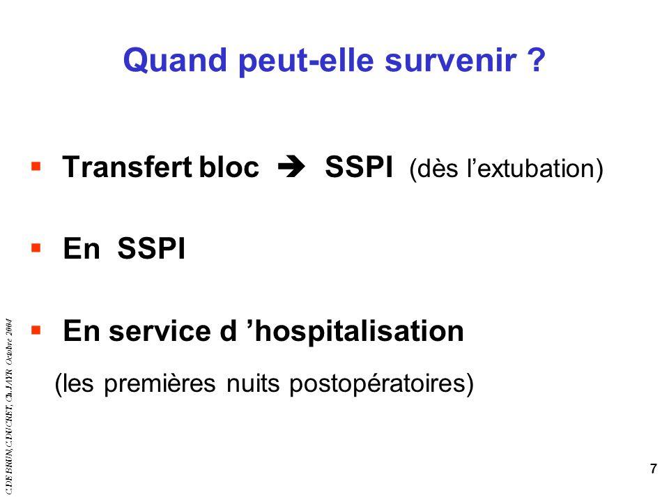 C.DE BRUN,C.DUCRET, Ch.JAYR Octobre 2004 7 Quand peut-elle survenir ? Transfert bloc SSPI (dès lextubation) En SSPI En service d hospitalisation (les