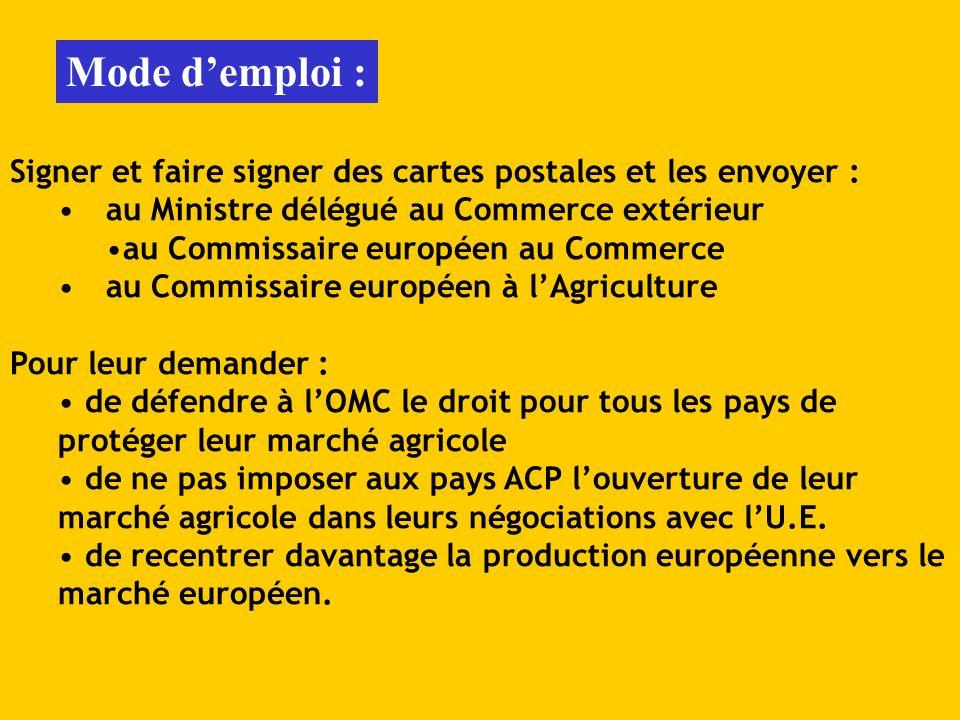 Mode demploi : Signer et faire signer des cartes postales et les envoyer : au Ministre délégué au Commerce extérieur au Commissaire européen au Commer