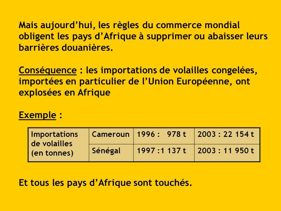 Mais aujourdhui, les règles du commerce mondial obligent les pays dAfrique à supprimer ou abaisser leurs barrières douanières. Conséquence : les impor
