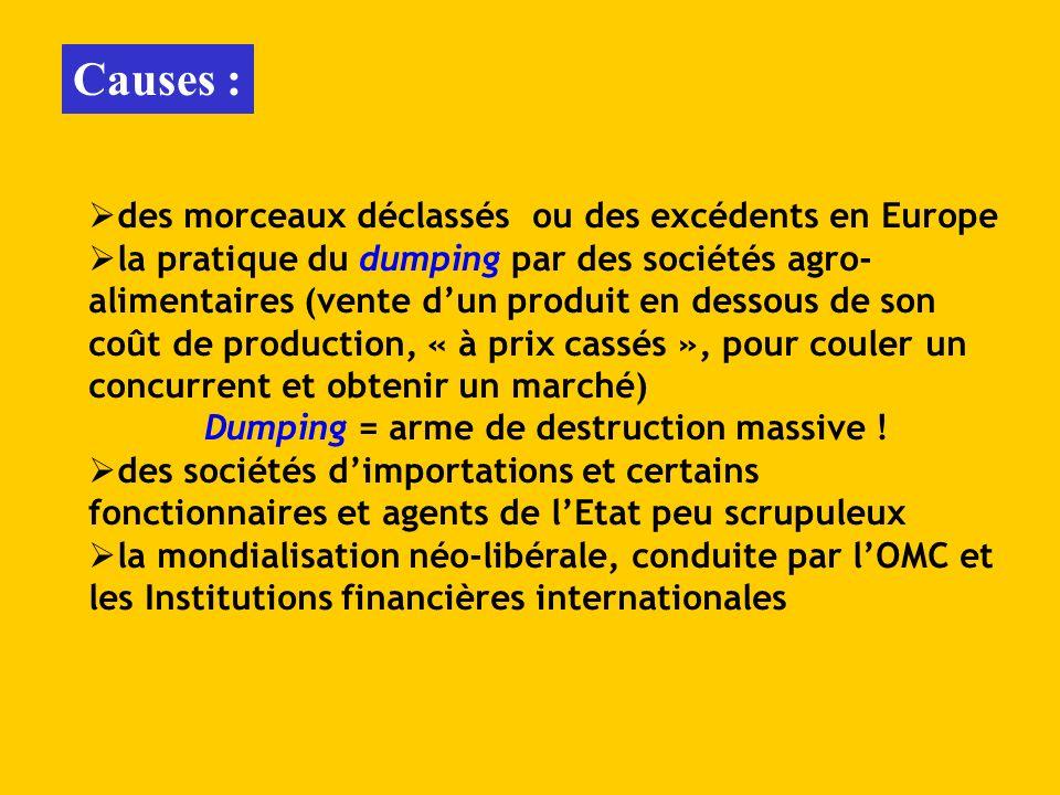 Causes : des morceaux déclassés ou des excédents en Europe la pratique du dumping par des sociétés agro- alimentaires (vente dun produit en dessous de