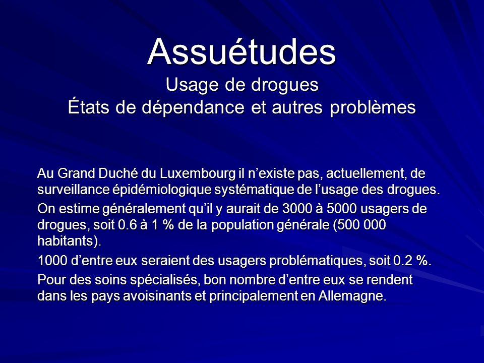 Assuétudes Usage de drogues États de dépendance et autres problèmes Au Grand Duché du Luxembourg il nexiste pas, actuellement, de surveillance épidémi