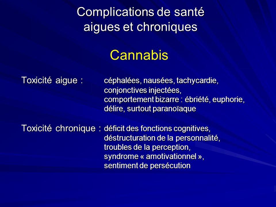 Complications de santé aigues et chroniques Toxicité aigue : céphalées, nausées, tachycardie, conjonctives injectées, comportement bizarre : ébriété,