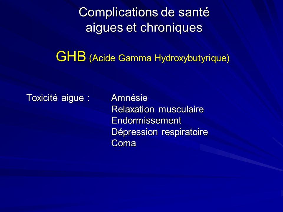 Complications de santé aigues et chroniques Toxicité aigue : Amnésie Relaxation musculaire Endormissement Dépression respiratoire Coma GHB (Acide Gamm
