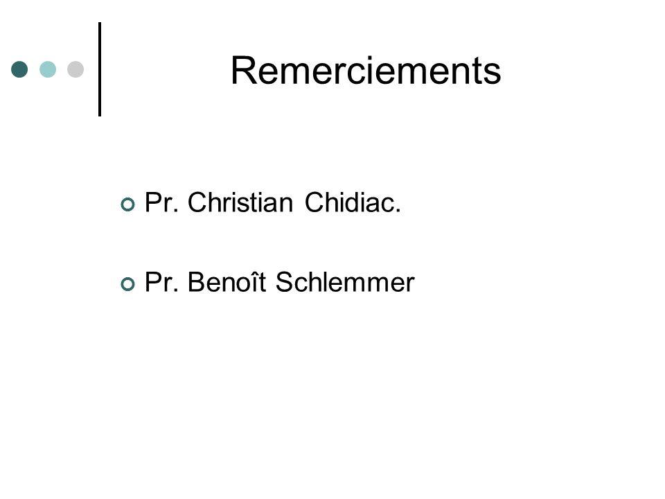 Remerciements Pr. Christian Chidiac. Pr. Benoît Schlemmer