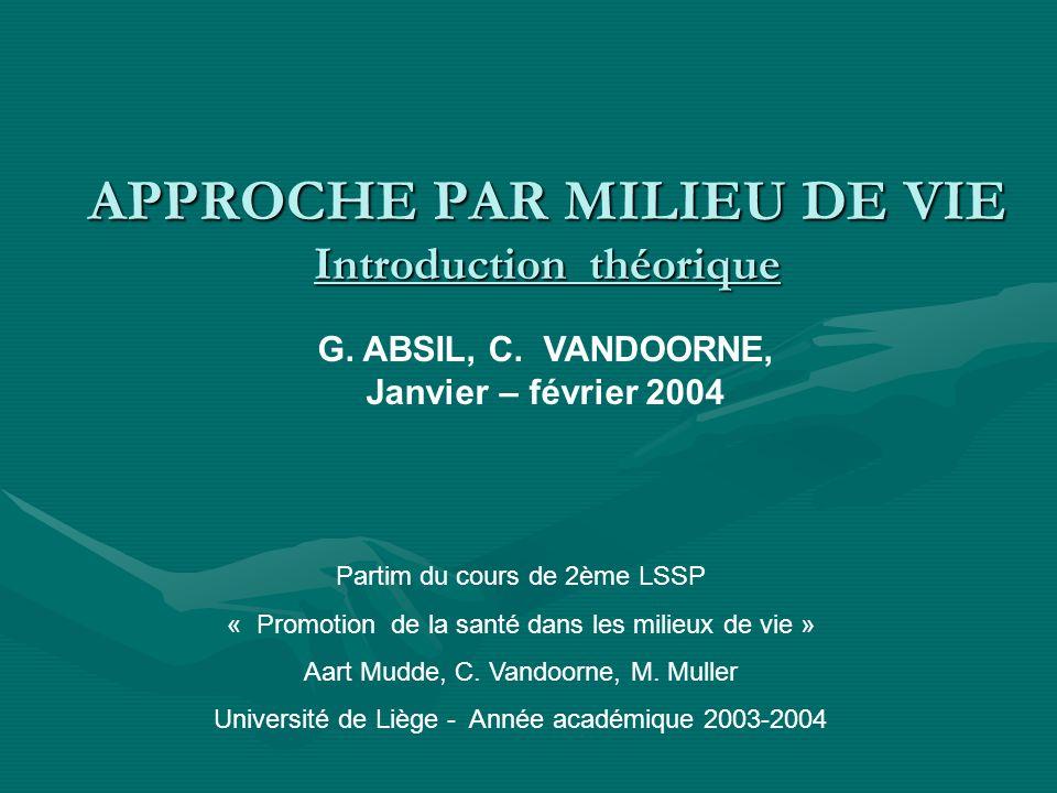 APPROCHE PAR MILIEU DE VIE Introduction théorique Partim du cours de 2ème LSSP « Promotion de la santé dans les milieux de vie » Aart Mudde, C. Vandoo