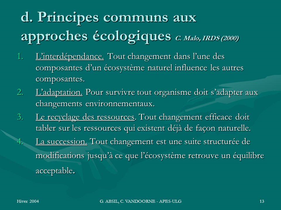 Hiver 2004G. ABSIL, C. VANDOORNE - APES-ULG13 d. Principes communs aux approches écologiques C. Malo, IRDS (2000) 1.Linterdépendance. Tout changement