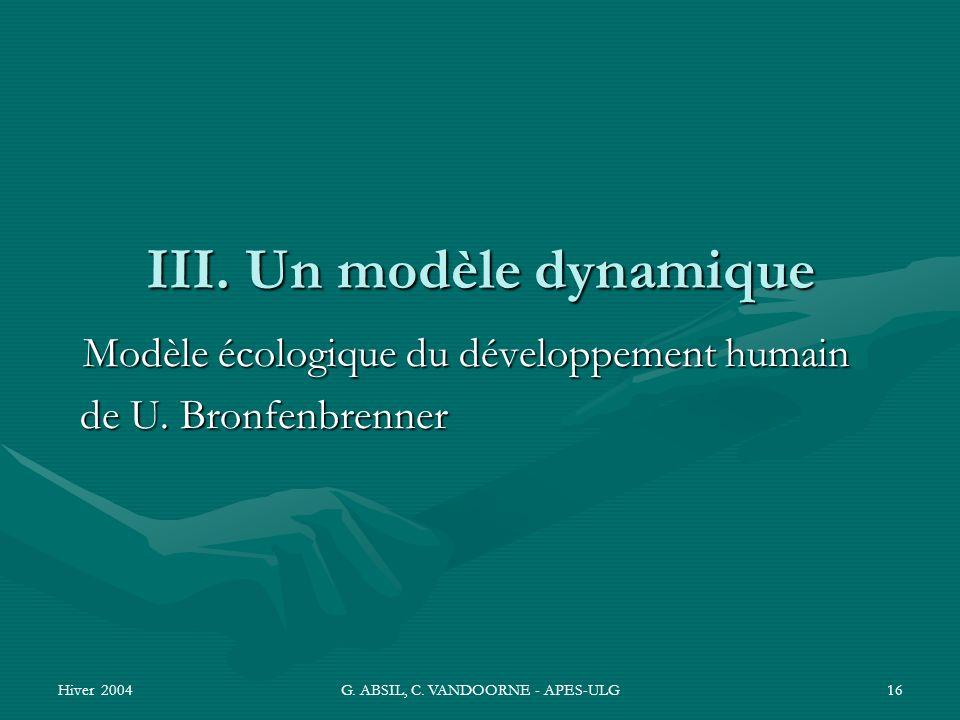 Hiver 2004G. ABSIL, C. VANDOORNE - APES-ULG16 III. Un modèle dynamique Modèle écologique du développement humain de U. Bronfenbrenner