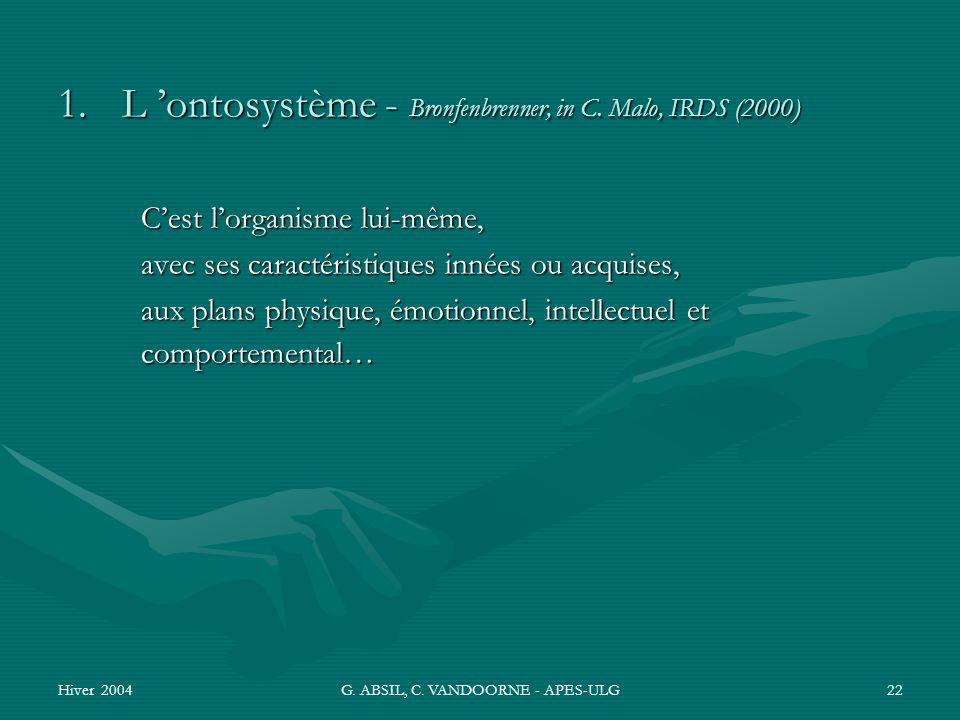 Hiver 2004G. ABSIL, C. VANDOORNE - APES-ULG22 1.L ontosystème - Bronfenbrenner, in C. Malo, IRDS (2000) Cest lorganisme lui-même, avec ses caractérist