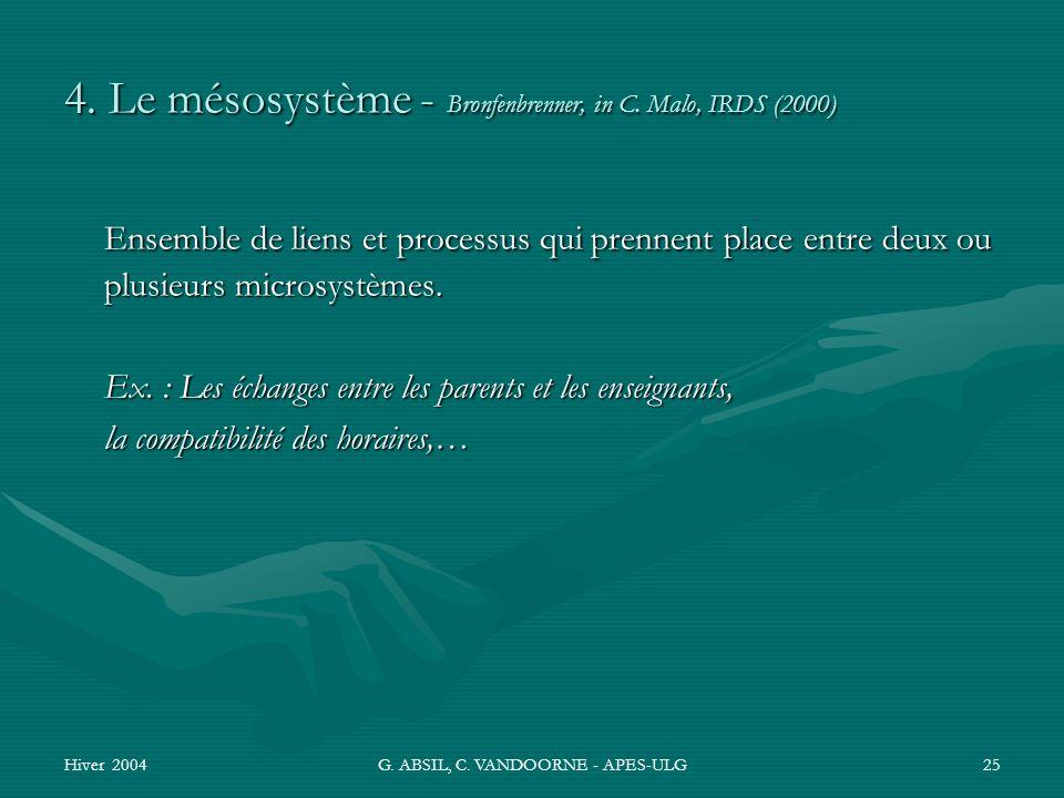 Hiver 2004G. ABSIL, C. VANDOORNE - APES-ULG25 4. Le mésosystème - Bronfenbrenner, in C. Malo, IRDS (2000) Ensemble de liens et processus qui prennent