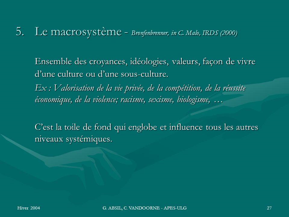 Hiver 2004G. ABSIL, C. VANDOORNE - APES-ULG27 5. Le macrosystème - Bronfenbrenner, in C. Malo, IRDS (2000) Ensemble des croyances, idéologies, valeurs