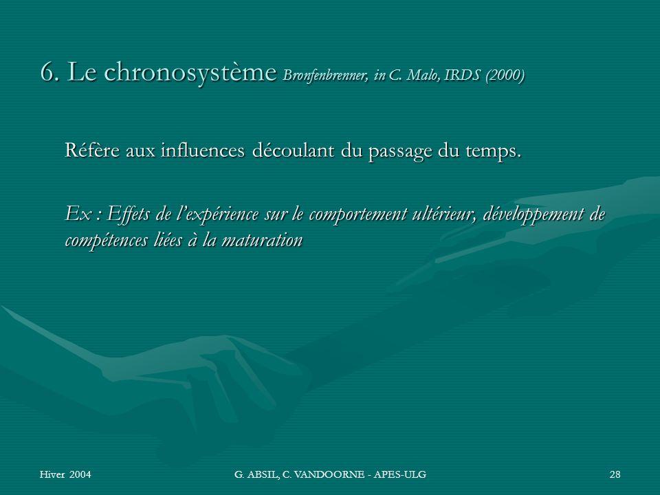 Hiver 2004G. ABSIL, C. VANDOORNE - APES-ULG28 6. Le chronosystème Bronfenbrenner, in C. Malo, IRDS (2000) Réfère aux influences découlant du passage d