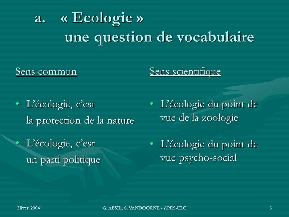 Hiver 2004G. ABSIL, C. VANDOORNE - APES-ULG3 a.« Ecologie » une question de vocabulaire Sens commun Lécologie, cestLécologie, cest la protection de la