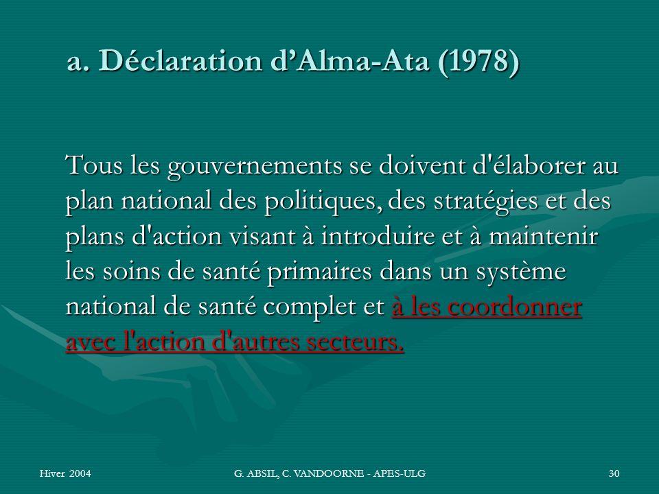 Hiver 2004G. ABSIL, C. VANDOORNE - APES-ULG30 Tous les gouvernements se doivent d'élaborer au plan national des politiques, des stratégies et des plan