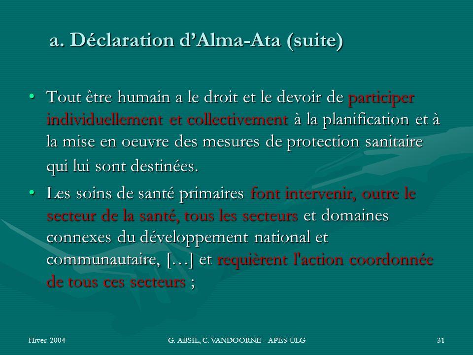 Hiver 2004G. ABSIL, C. VANDOORNE - APES-ULG31 a. Déclaration dAlma-Ata (suite) Tout être humain a le droit et le devoir de participer individuellement