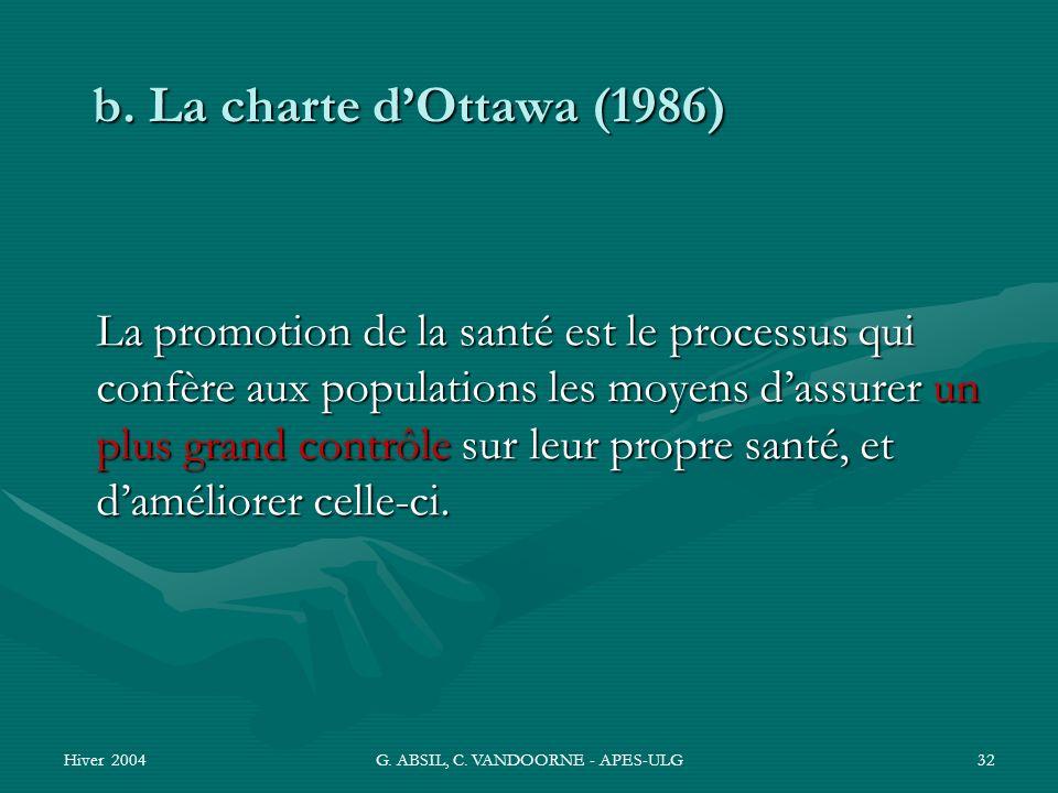 Hiver 2004G. ABSIL, C. VANDOORNE - APES-ULG32 La promotion de la santé est le processus qui confère aux populations les moyens dassurer un plus grand