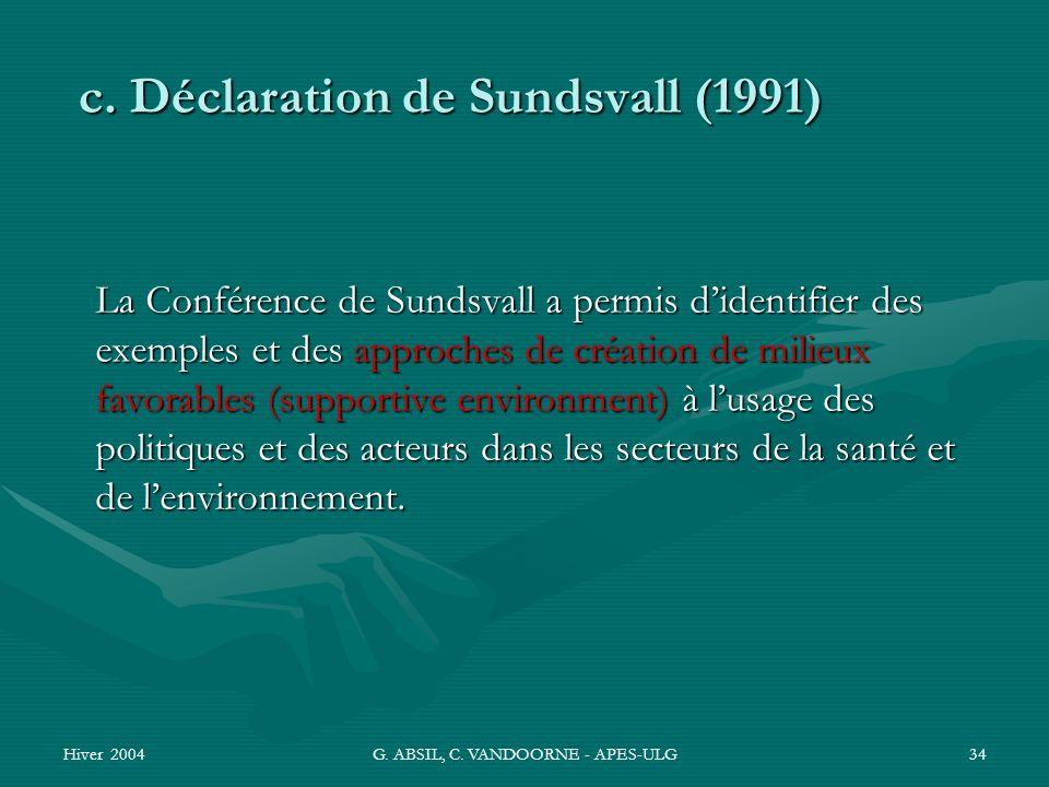 Hiver 2004G. ABSIL, C. VANDOORNE - APES-ULG34 La Conférence de Sundsvall a permis didentifier des exemples et des approches de création de milieux fav