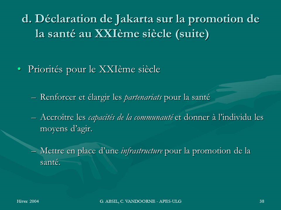 Hiver 2004G. ABSIL, C. VANDOORNE - APES-ULG38 d. Déclaration de Jakarta sur la promotion de la santé au XXIème siècle (suite) Priorités pour le XXIème