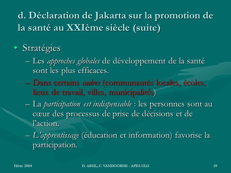 Hiver 2004G. ABSIL, C. VANDOORNE - APES-ULG39 d. Déclaration de Jakarta sur la promotion de la santé au XXIème siècle (suite) StratégiesStratégies –Le