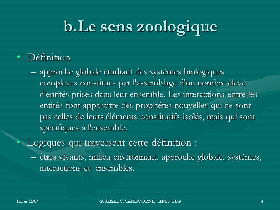 Hiver 2004G. ABSIL, C. VANDOORNE - APES-ULG4 b.Le sens zoologique DéfinitionDéfinition –approche globale étudiant des systèmes biologiques complexes c