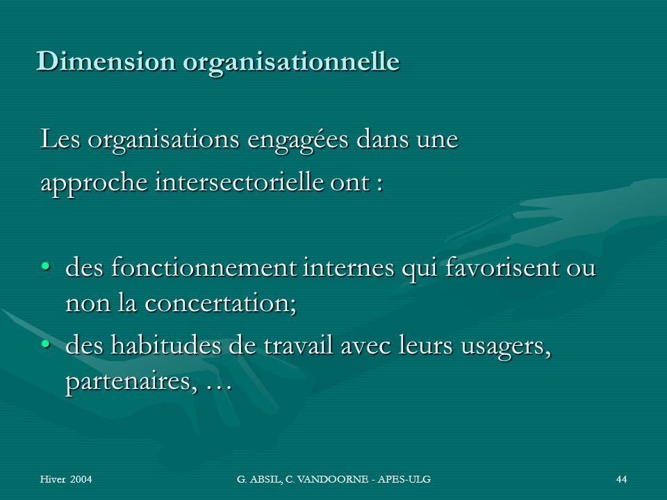 Hiver 2004G. ABSIL, C. VANDOORNE - APES-ULG44 Dimension organisationnelle Les organisations engagées dans une approche intersectorielle ont : des fonc