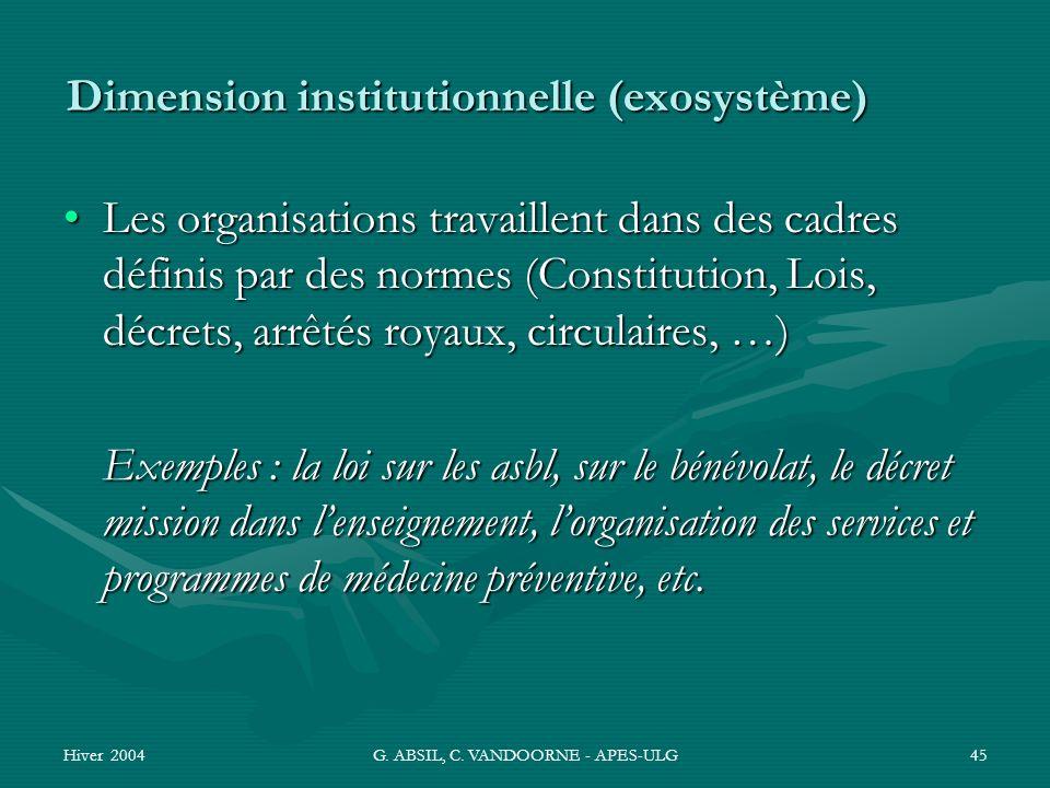 Hiver 2004G. ABSIL, C. VANDOORNE - APES-ULG45 Dimension institutionnelle (exosystème) Les organisations travaillent dans des cadres définis par des no