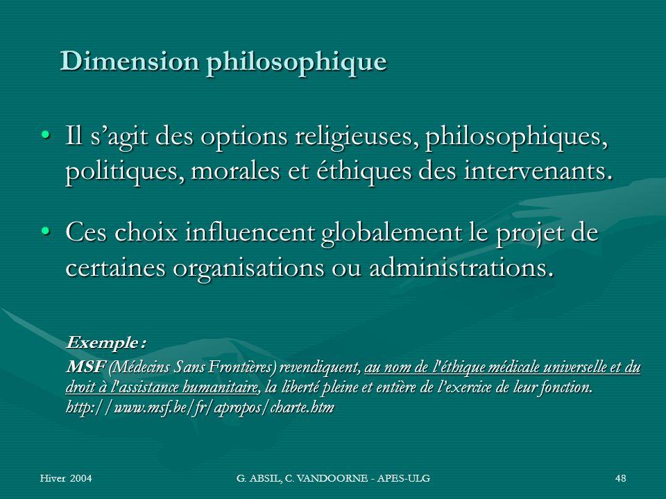 Hiver 2004G. ABSIL, C. VANDOORNE - APES-ULG48 Dimension philosophique Il sagit des options religieuses, philosophiques, politiques, morales et éthique