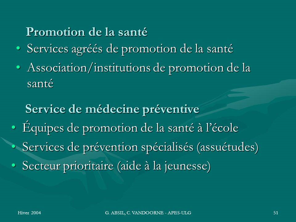 Hiver 2004G. ABSIL, C. VANDOORNE - APES-ULG51 Promotion de la santé Services agréés de promotion de la santéServices agréés de promotion de la santé A