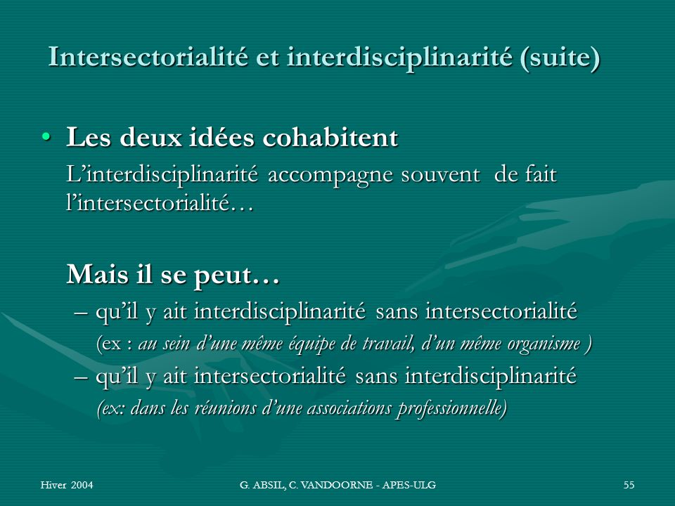 Hiver 2004G. ABSIL, C. VANDOORNE - APES-ULG55 Intersectorialité et interdisciplinarité (suite) Les deux idées cohabitentLes deux idées cohabitent Lint