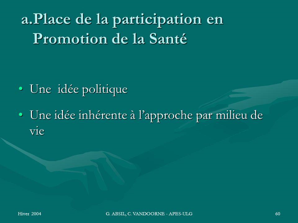 Hiver 2004G. ABSIL, C. VANDOORNE - APES-ULG60 a.Place de la participation en Promotion de la Santé Une idée politiqueUne idée politique Une idée inhér