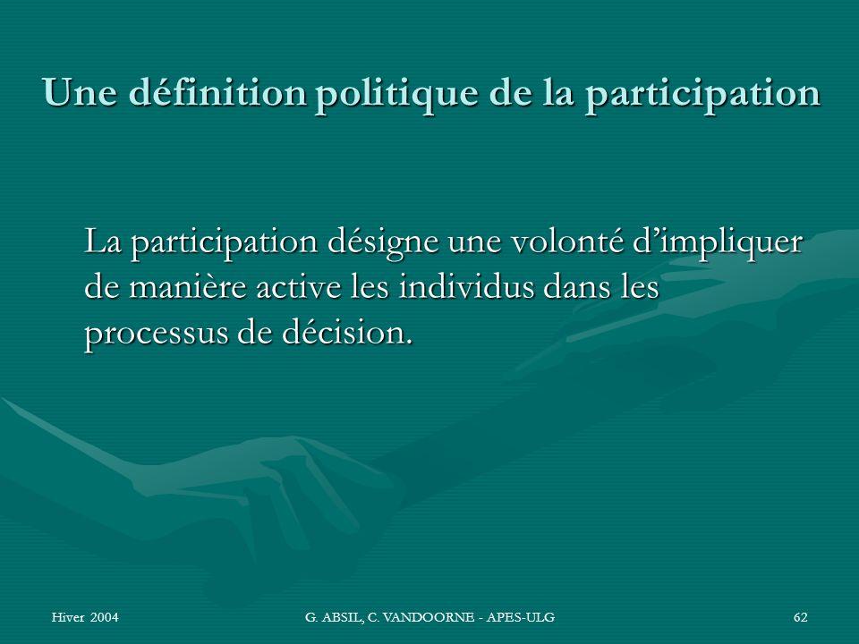 Hiver 2004G. ABSIL, C. VANDOORNE - APES-ULG62 Une définition politique de la participation La participation désigne une volonté dimpliquer de manière