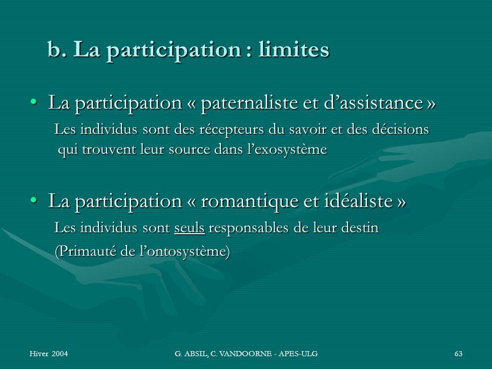 Hiver 2004G. ABSIL, C. VANDOORNE - APES-ULG63 b. La participation : limites La participation « paternaliste et dassistance »La participation « paterna