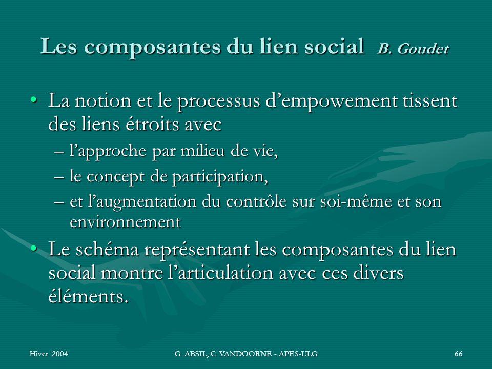 Hiver 2004G. ABSIL, C. VANDOORNE - APES-ULG66 Les composantes du lien social B. Goudet La notion et le processus dempowement tissent des liens étroits