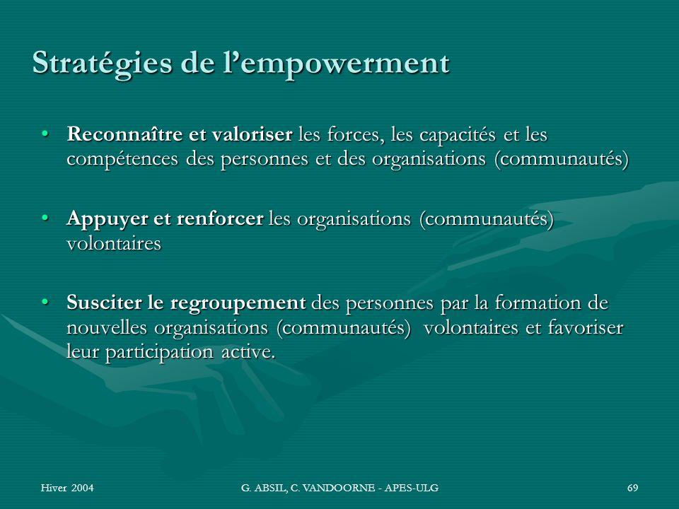 Hiver 2004G. ABSIL, C. VANDOORNE - APES-ULG69 Stratégies de lempowerment Reconnaître et valoriser les forces, les capacités et les compétences des per