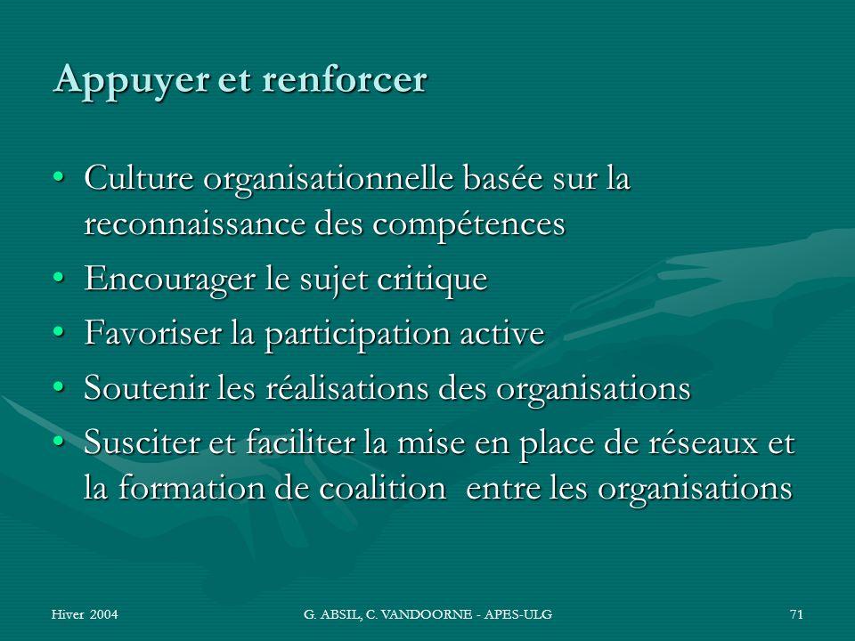 Hiver 2004G. ABSIL, C. VANDOORNE - APES-ULG71 Appuyer et renforcer Culture organisationnelle basée sur la reconnaissance des compétencesCulture organi