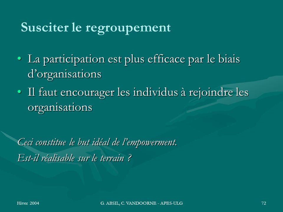 Hiver 2004G. ABSIL, C. VANDOORNE - APES-ULG72 Susciter le regroupement La participation est plus efficace par le biais dorganisationsLa participation