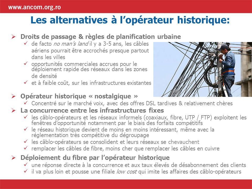 Les alternatives à lopérateur historique: Droits de passage & règles de planification urbaine de facto no mans land il y a 3-5 ans, les câbles aériens