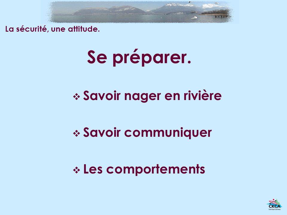 Se préparer. Savoir nager en rivière Savoir communiquer Les comportements La sécurité, une attitude.