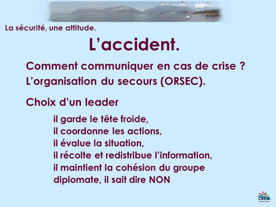Laccident. Comment communiquer en cas de crise ? Lorganisation du secours (ORSEC). Choix dun leader La sécurité, une attitude. il garde le tête froide